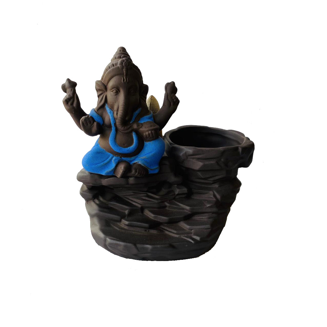 Porta Incienso Cascada Mini Ganesh Azul + 10 inciensos especiales