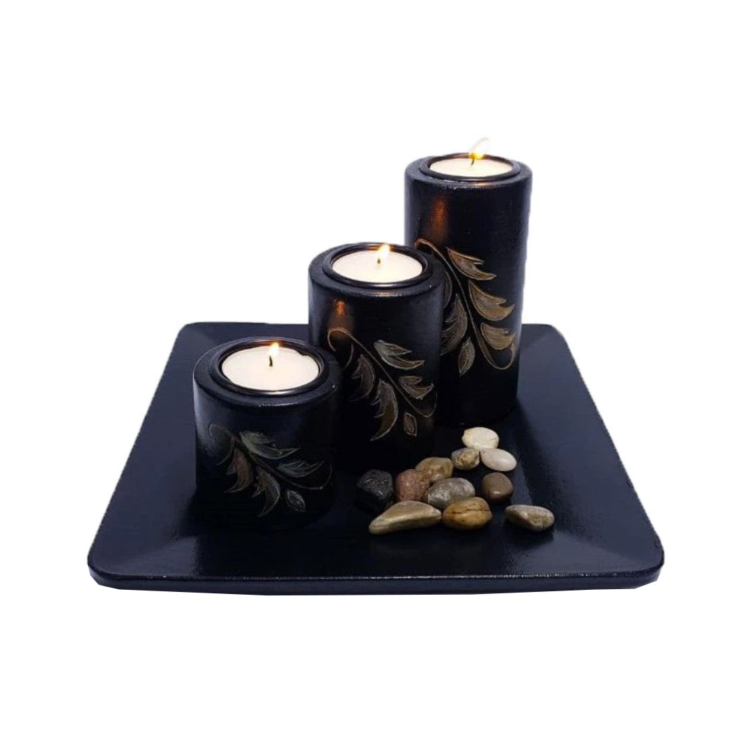 Porta Vela Black Flowers Triple Square