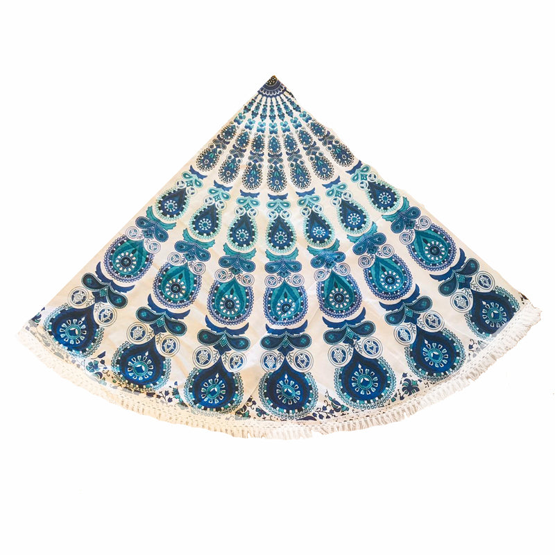Pareo - Cubrecama Mandala Blue and White Design