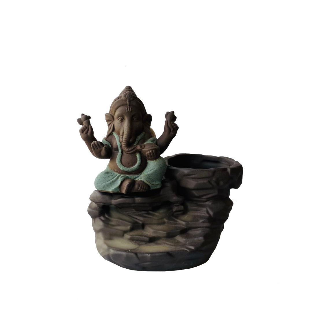 Porta Incienso Cascada Mini Ganesh Verde + 10 inciensos especiales