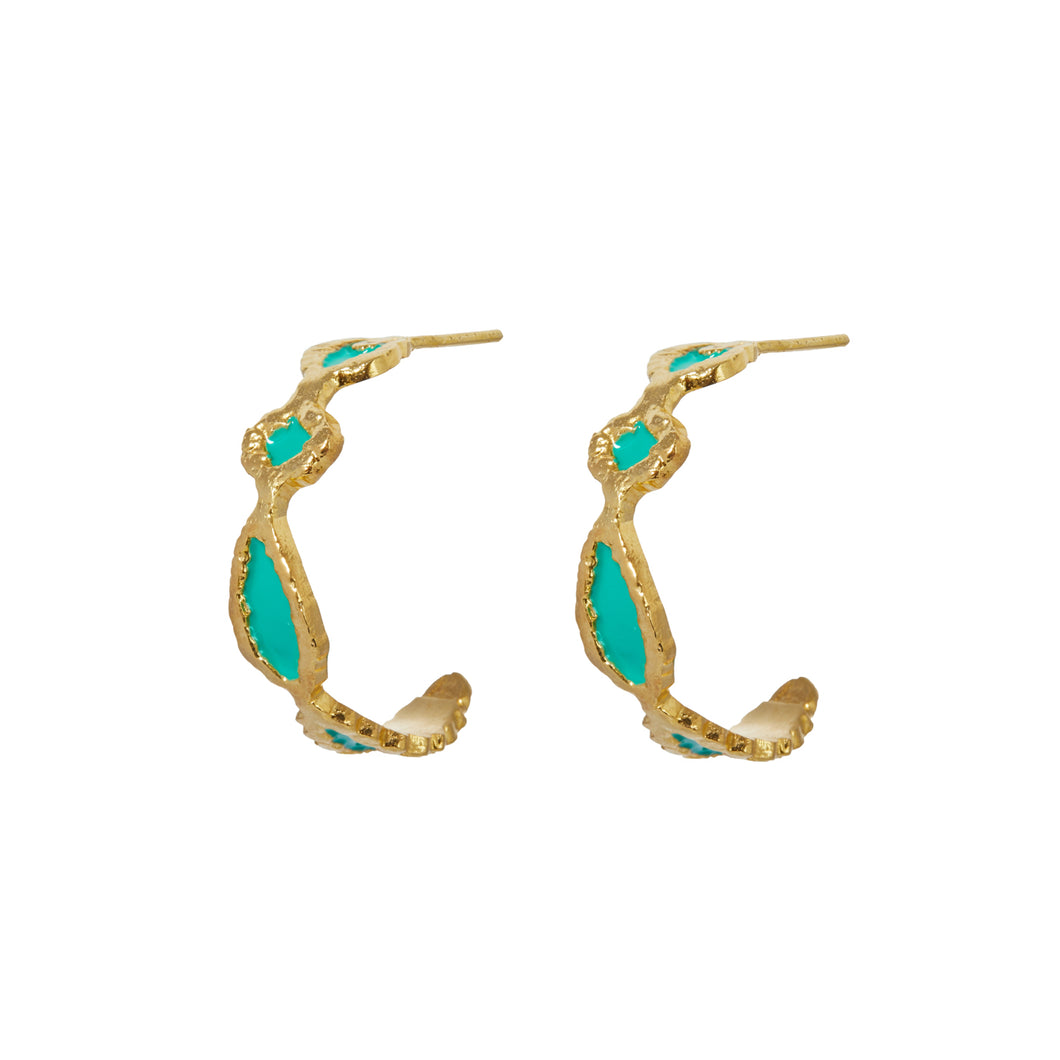 AILEEN EARRINGS GREEN ENAMEL