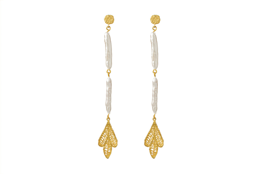 MAE GOLD - DOUBLE PEARL EARRINGS