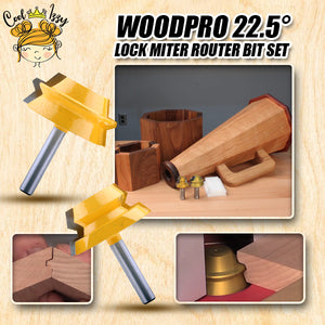 WoodPRO 22.5° Lock Miter Router Bit Set