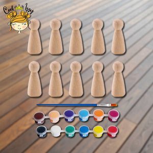 Wooden Peg Doll Painting Kit