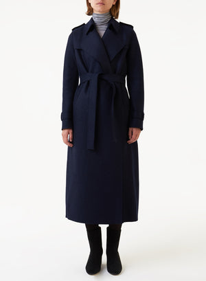 Long trench coat pressed wool