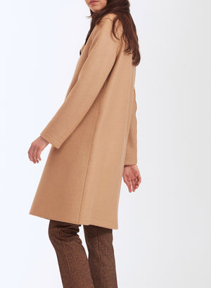 Contrast piped coat pressed wool