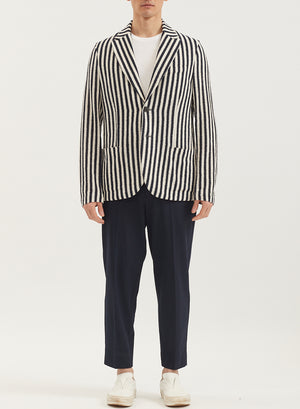Men 2b. peak lapel blazer Striped Frisé