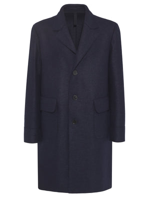 Dropped shoulder long coat pressed wool