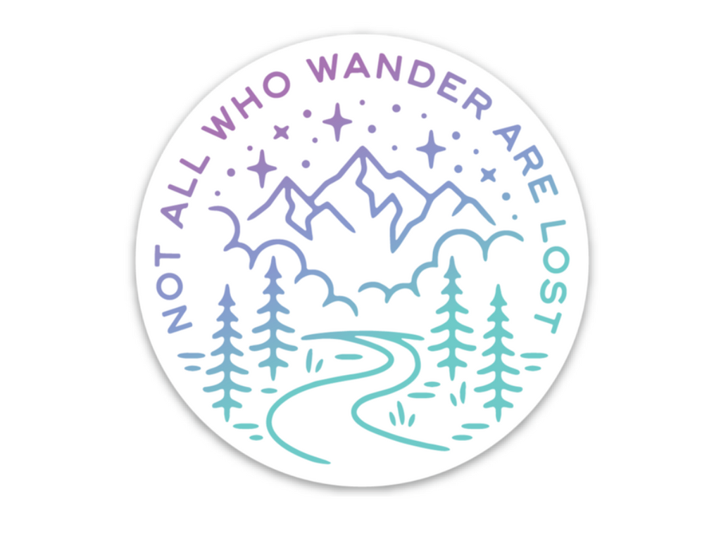 Not All Who Wander Sticker Purple