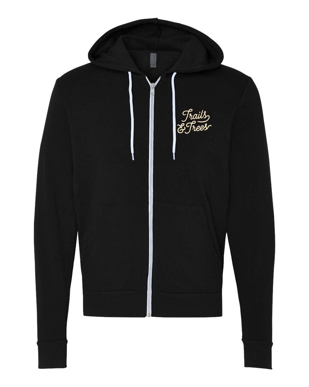 Trails & Trees Zip-Up Hoodie Black