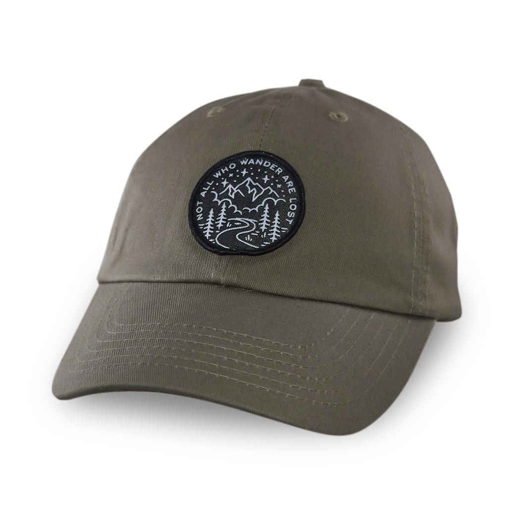Not All Who Wander Black Patch Dad Hat