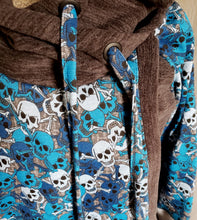 Load image into Gallery viewer, Blue Skulls Breastfeeding Hoodie
