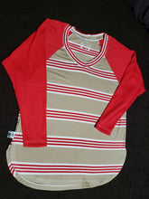 Load image into Gallery viewer, Over-sized red stripe raglan