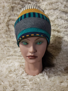 Adult teal stripes beanie