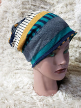 Load image into Gallery viewer, Adult teal stripes beanie