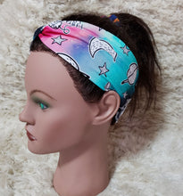 Load image into Gallery viewer, Pastel staurn moon and stars turban style headband
