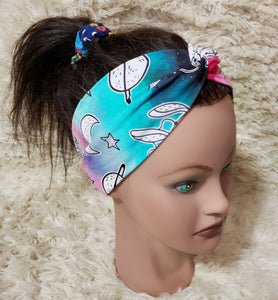 Pastel staurn moon and stars turban style headband
