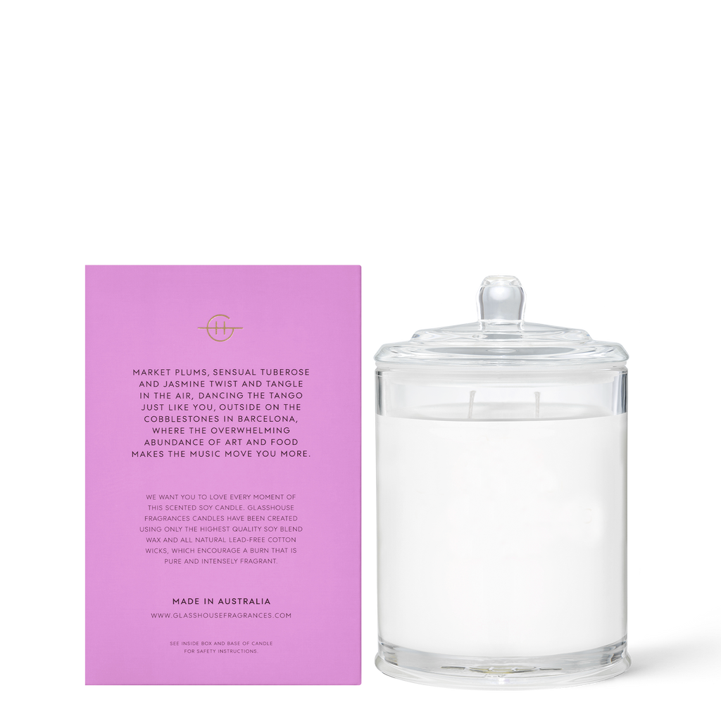 Glasshouse A Tango in Barcelona - Tuberose & Plum 380g Triple Scented Soy Candle Back