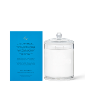 Glasshouse Bora Bora Bungalow - Cilantro & Orange Zest Triple Scented Soy Candle 380g back