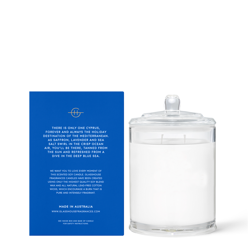 Glasshouse Diving into Cyprus - Sea Salt & Saffron Triple Scented Soy Candle 380g