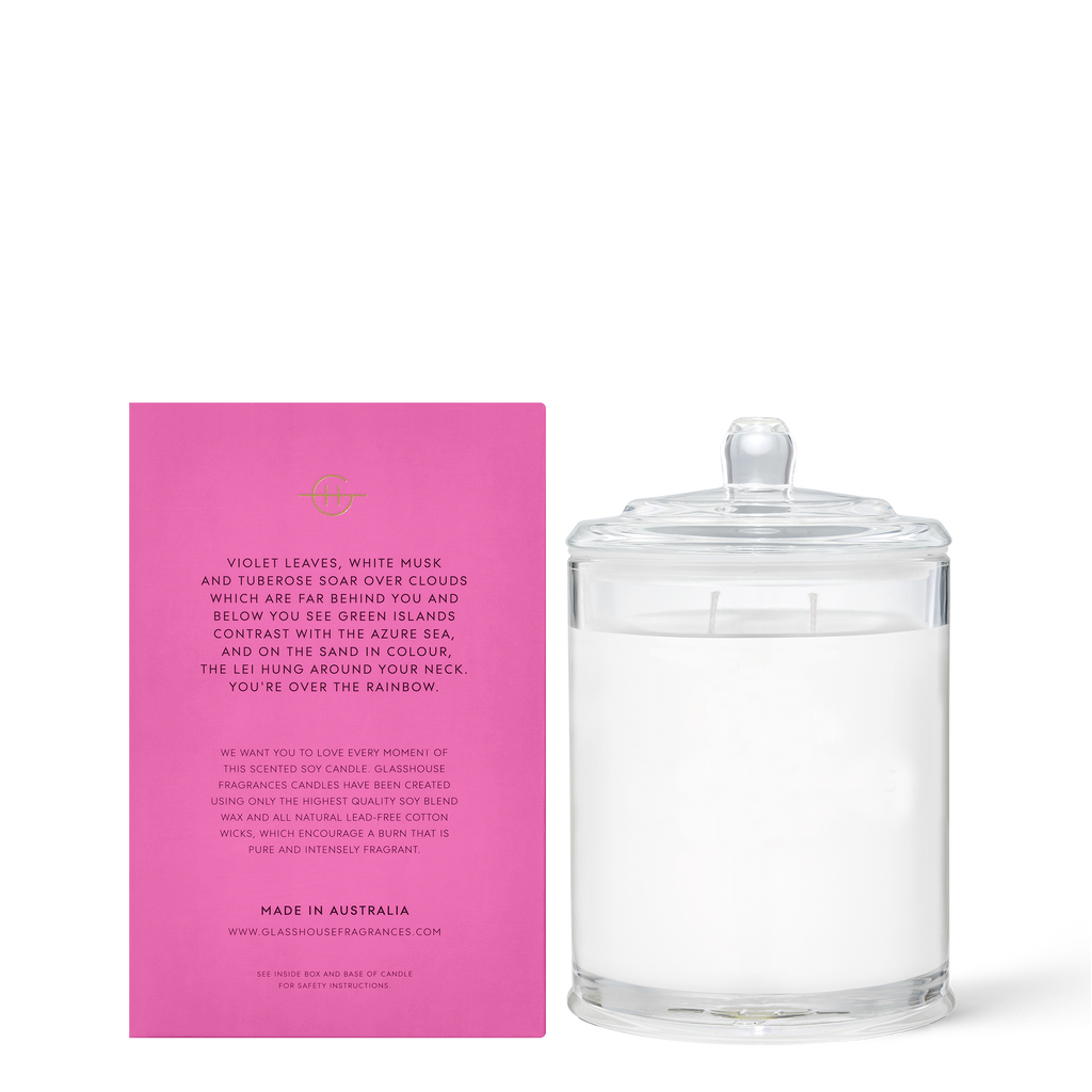 Glasshouse Over the Rainbow - Violet Leaves & White Musk Triple Scented Soy Candle 380g