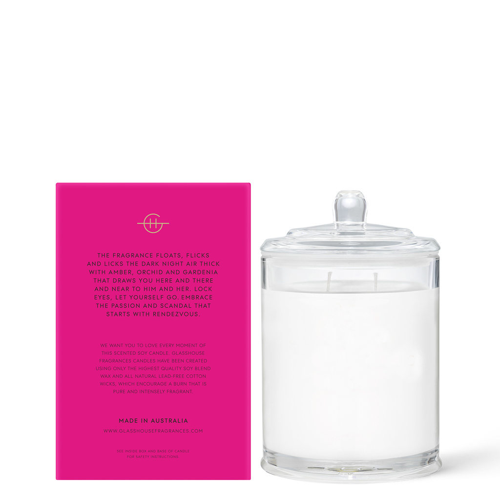 Glasshouse Rendezvous - Amber & Orchid Triple Scented Soy Candle 380g Back