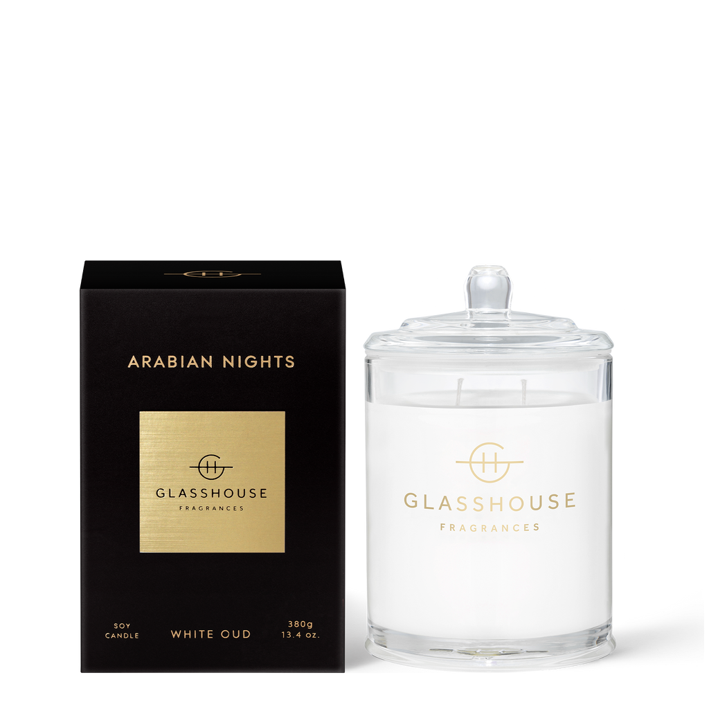 Glasshouse Arabian Nights - White Oud 380g Triple Scented Soy Candle Front