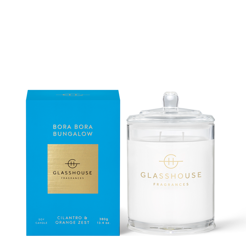Glasshouse Bora Bora Bungalow - Cilantro & Orange Zest Triple Scented Soy Candle 380g front