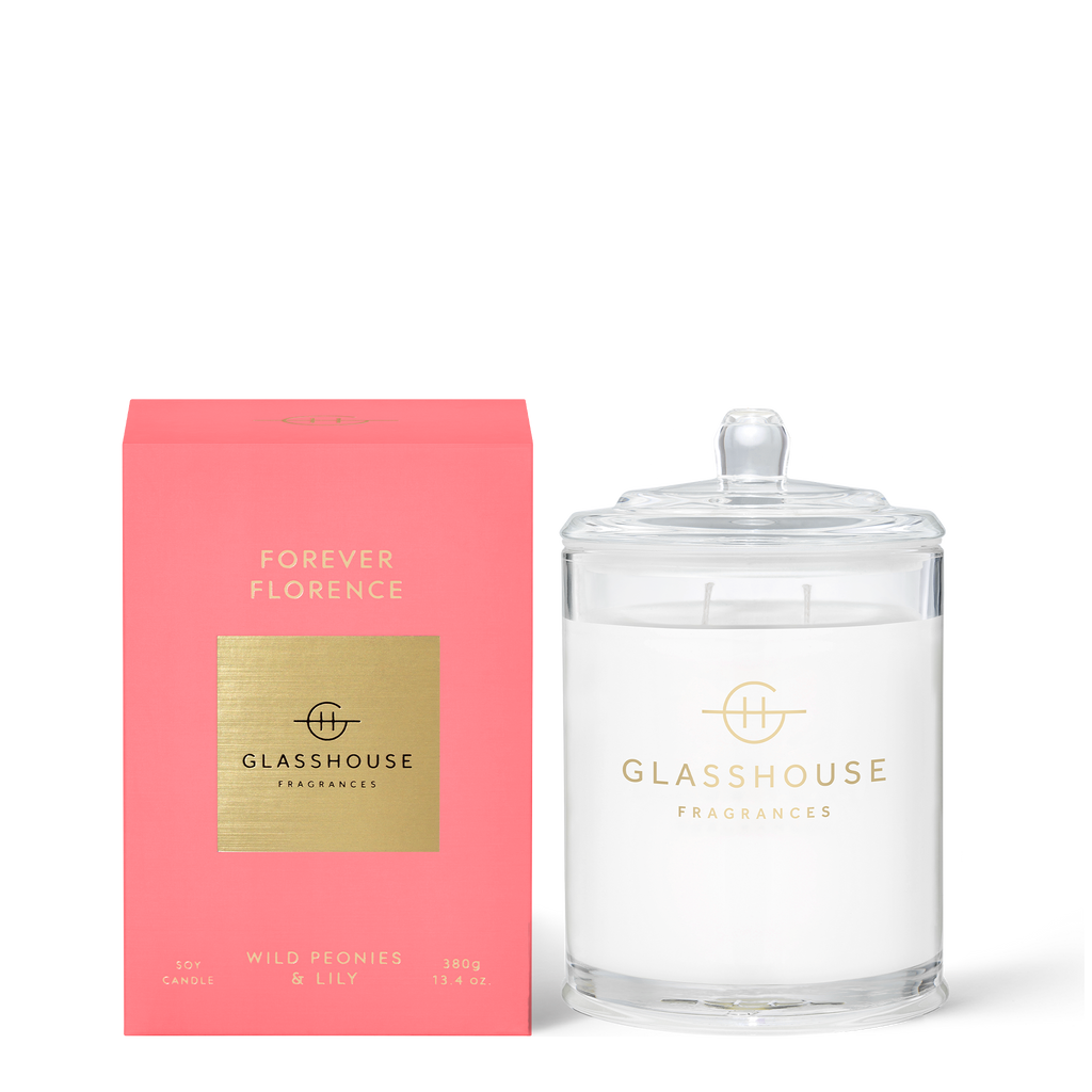 Glasshouse Forever Florence - Wild Peonies & Lily Soy Candle 380g front