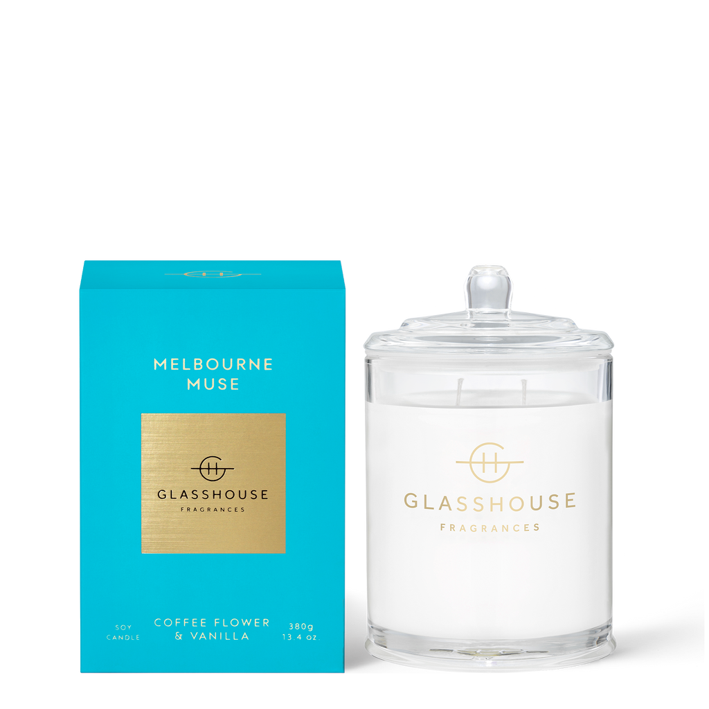 Glasshouse Melbourne Muse - Coffee Flower & Vanilla Triple Scented Soy Candle 380g front