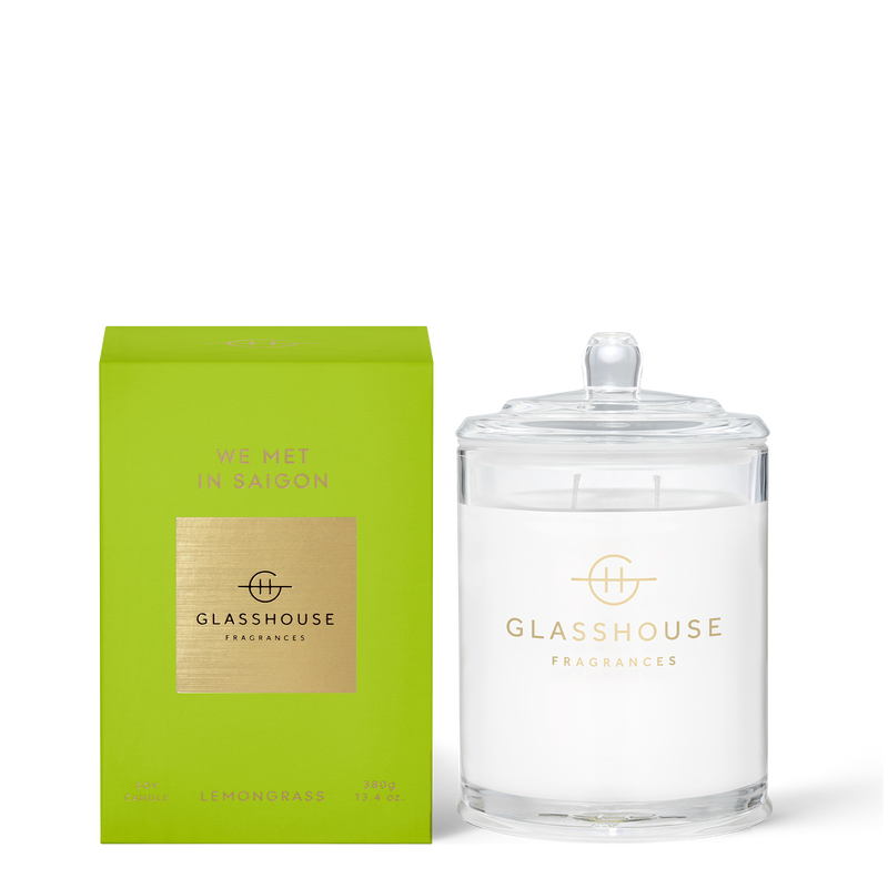 Glasshouse We Met in Saigon - Lemongrass Triple Scented Soy Candle Back