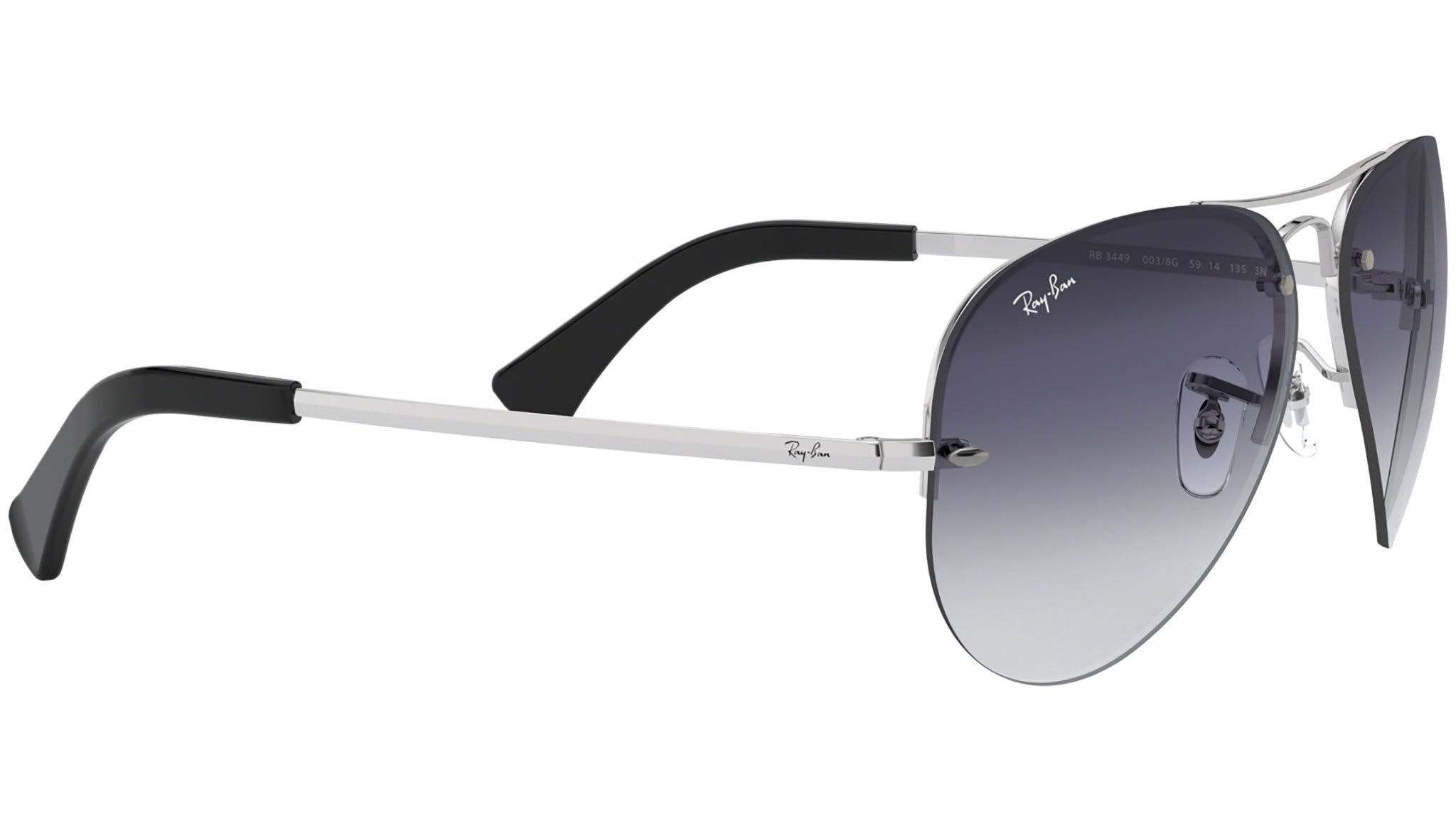 Aviator Large Metal RB3449 semi rimless silver