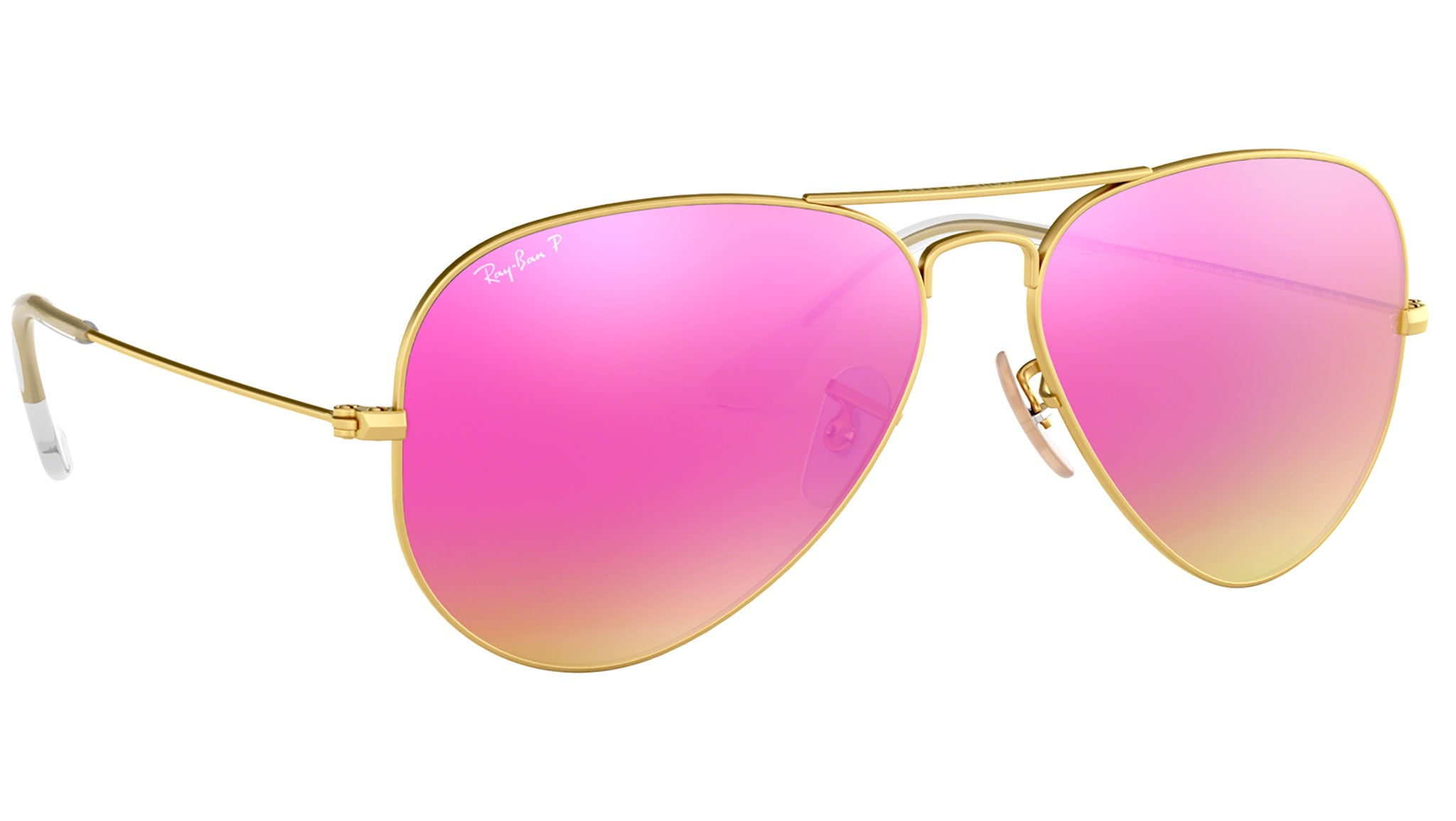 Aviator Flash Lenses RB3025 matte gold pink