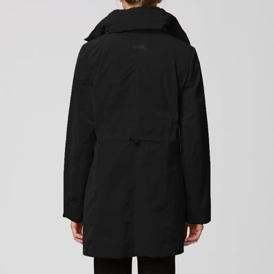 Packable Travel Coat with Ruffled Placket