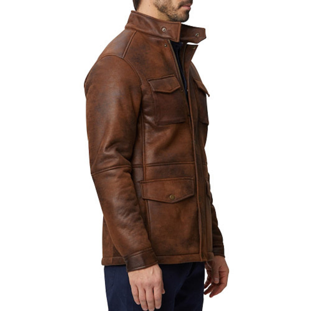 Sand Nubuck Faux Shearling Military Jacket