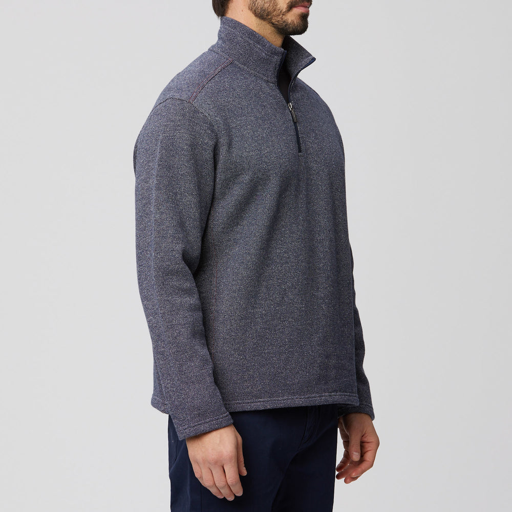 Bird's Eye Quarter Zip Textured Knit Pullover