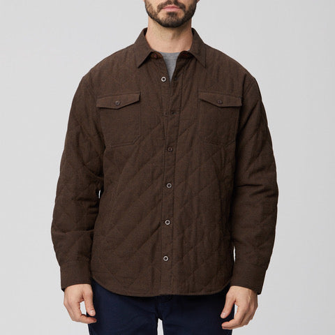 Microsuede Diamond Quilted Shirt Jacket