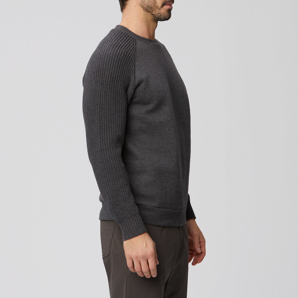 Fashion Crew Neck with Sweater Knit Sleeves