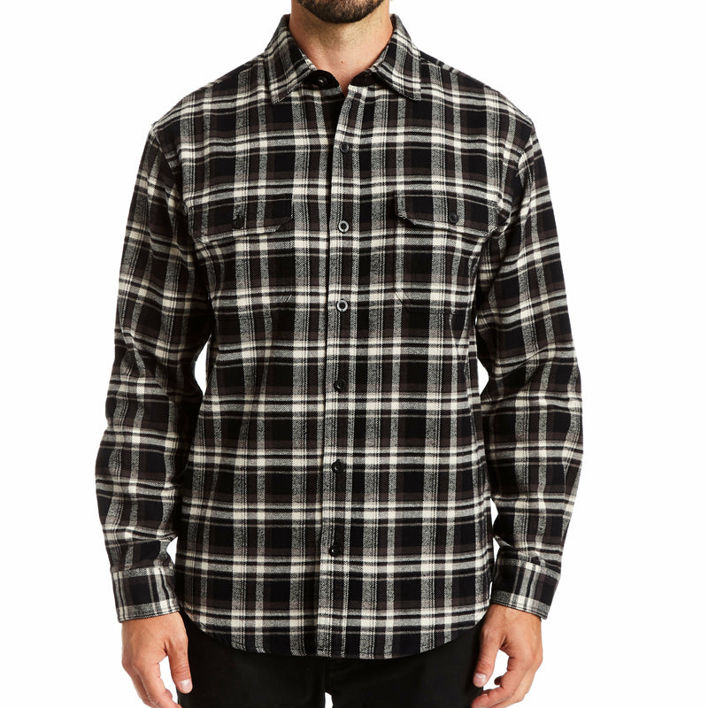 Heavyweight Charcoal Plaid Flannel Shirt Jacket