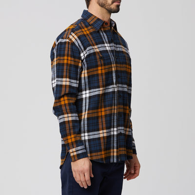 Heavyweight  Navy Plaid Flannel Shirt Jacket