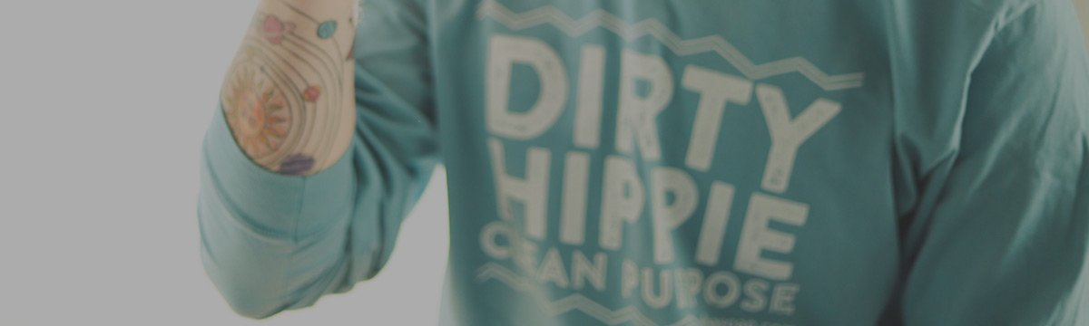Image of long sleeve blue and white Dirty Hippie t shirt