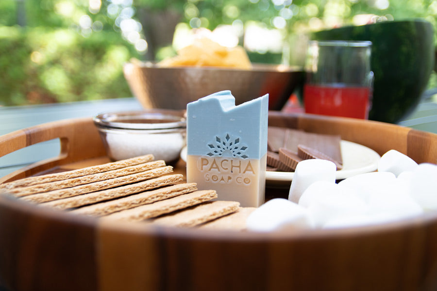 Sand & Sea Bar Soap Sitting in Middle of Tray with Smore Ingredients