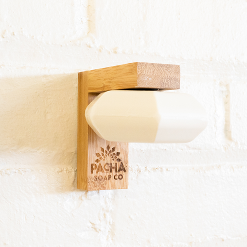 Image of Shampoo & Conditioner Bar on a Bamboo Magnetic Soap Holder