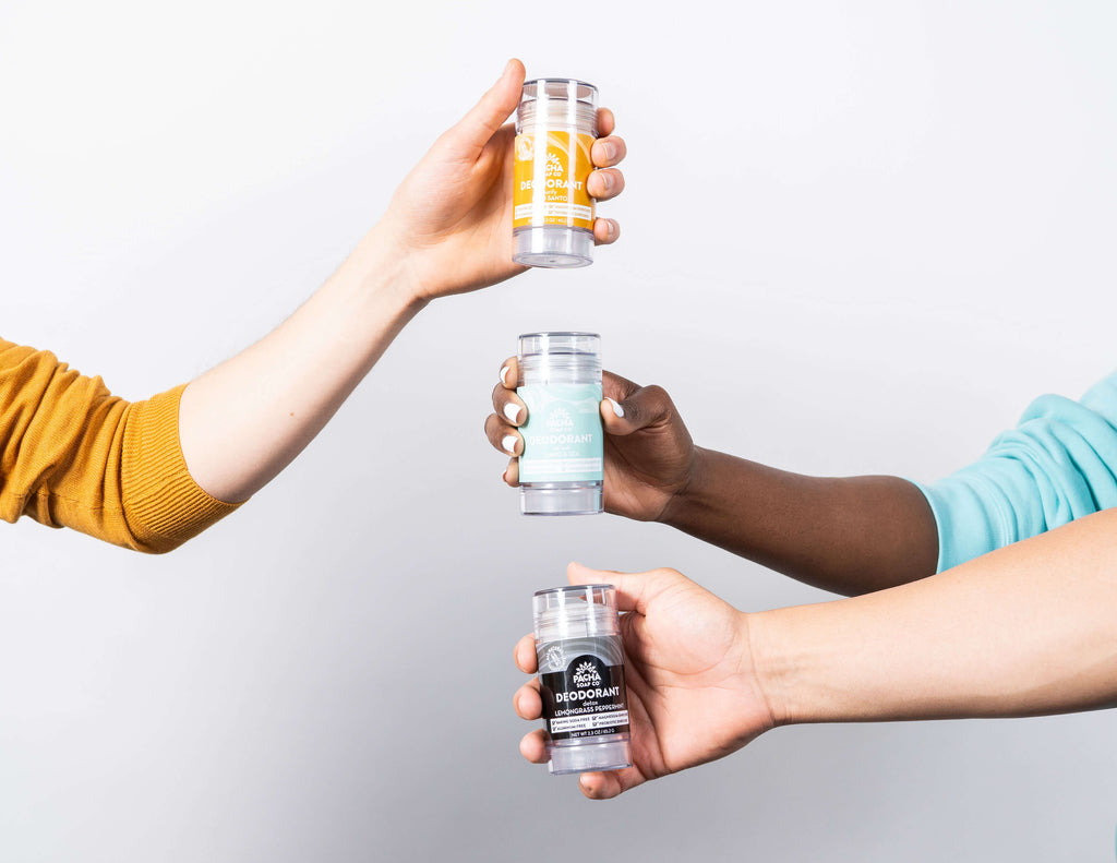 People holding Pacha Soap Co. Deodorant collection