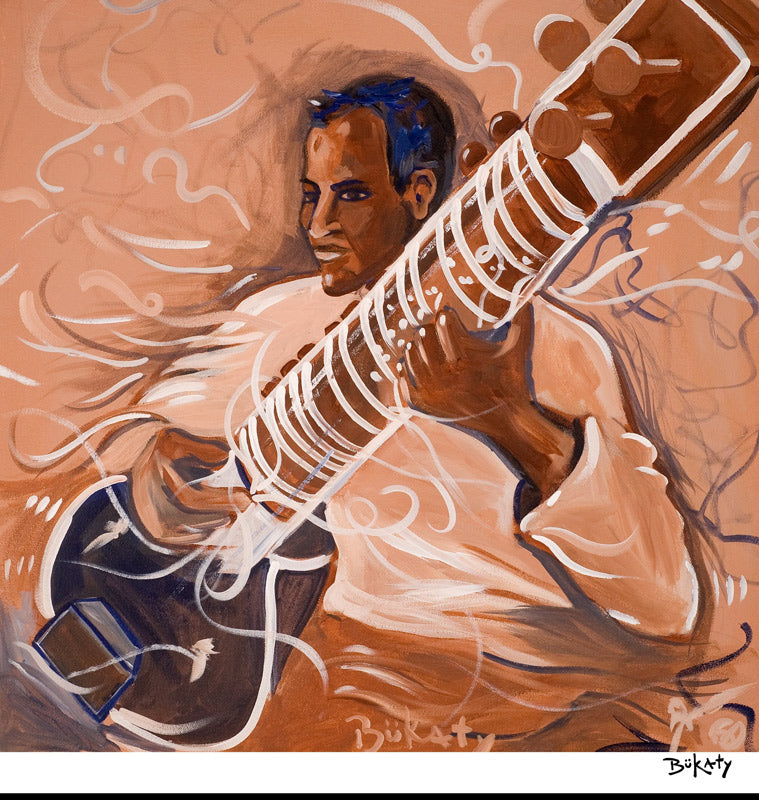 Sitar Player - Print by Artist John Bukaty