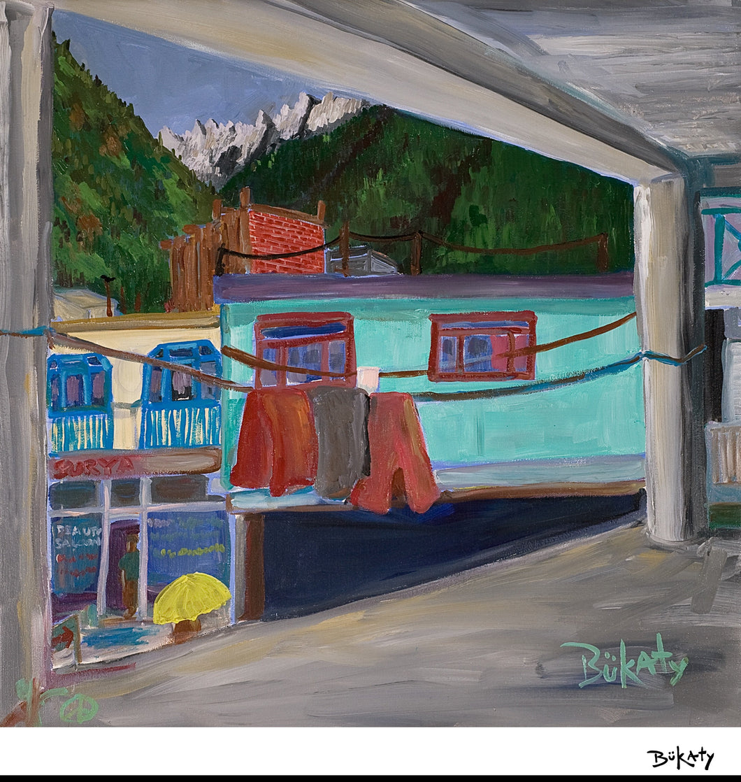 Outdoor scene from Kasol, India by Artist John Bukaty