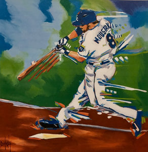 "Mike ""Moose"" Moustakas print by Artist John Bukaty"