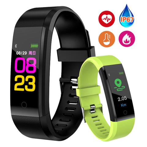 Smart Fitness Heart Rate Blood Pressure Pedometer Sports Wristband For IOS & Android