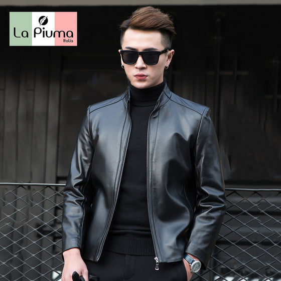 [J02] High-quality 100% Italian cow leather jacket