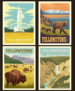 National Parks Yellowstone Pillow Panel Riley Blake Designs (PP8796-YELLOW) - National Park Fabric